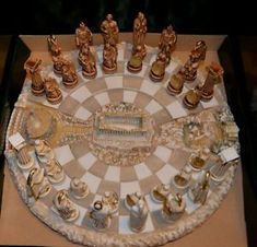 Chess set alabaster carved Acropolis battle board and Shield warrior figures - Поиск в Google