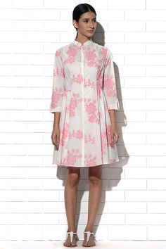 Majorca Ivory by pink embroidered summer dress