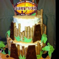 Survivor theme bday cake with carrot cake and crm cheese icing