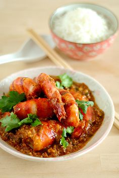 Chinese food Har Lok (虾烙): Tiger Prawns with Spicy Fermented Bean Sauce