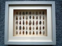 Neolithic Arrowheads in 3D Frame, Authentic Saharan Artifacts 4000BC (K102)