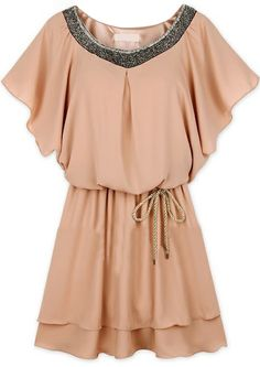 Pink Batwing Sleeve Sequined Pleated Chiffon Dress