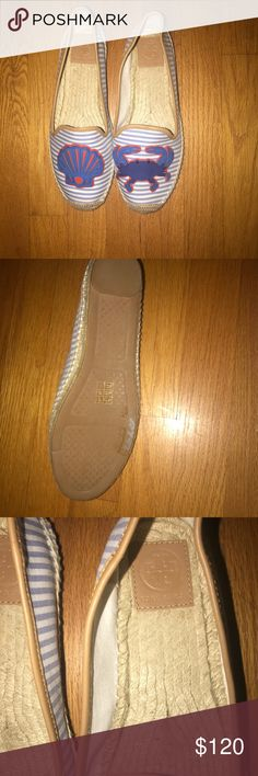 Tory Burch Espadrilles New never worn Tory Burch shoes size 9.6 blue and white Tory Burch Shoes Espadrilles