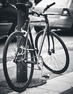 detail bike, locked, black and white