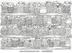 Pattern For Coloring Book A4 Size Set Of Glass Jars With Jam And Other