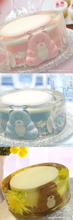 Learn How To Make Gelatin Art Baby Shower Cakes. GelatinArtMarket.com Gelatin Recipes, Jello Recipes, Baby Shower Treats, Baby Shower Cakes, Cake Art, Art Cakes, Gelatina Jello, How To Make Gelatin, 3d Jelly Cake