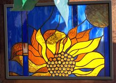 Sunny Sunflower Stained Glass Window Leaded by stainedglassfusion, $249.00