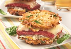 Spinach and Potato Pancake Corned Beef Sandwich  Not your traditional Rueben Sandwich.