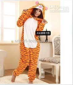 6b00bd2411 Retail 1pcs Cosplay Costume Fleece lovely Tiger Winter Pyjamas Adult  Sleepsuit Kigurumi Pyjamas Nightclothes
