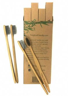 Truly Eco Friendly Bamboo Activated Charcoal Soft Toothbrush - Vegan, Nylon Free, Bpa Free, Sensitive teeth, and Kid Friendly. Dental Bridge, Dental Crowns, Cosmetic Dentistry, Dental Care, Sustainable Living, Teeth Whitening, Biodegradable Products, Pet Care, Eco Friendly