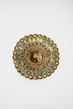 Ear stud (Nubian, Meroitic Period, 100–320) Sudan, Nubia, Meroe; Gold, enamel