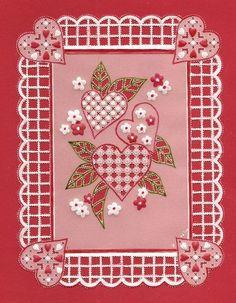 coeurs et fleurs d'après un modèle de parchment craft de février 2011 pour la St Valentin ( février 2012)