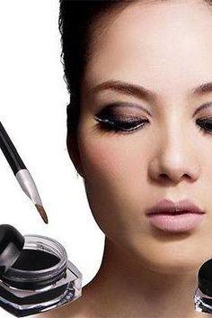 Waterproof Black Eye Liner Eyeliner Gel Cream Makeup Cosmetic + Brush One Set