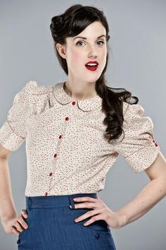 The dolled up blouse. Cream white, colour dots. | Emmydesign