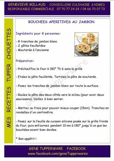 Tupperware - Bouchées apéritives au jambon Tupperware Pressure Cooker, Food Illustrations, Brunch, Snacks, Cooking, Health, Desserts, Recipes, French Recipes