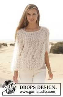 "Knitted DROPS poncho in garter st with lace pattern in ""Vienna"". Size: S - XXXL. ~ DROPS Design"