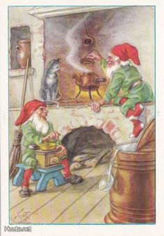 Curt Nyström Swedish Christmas, Christmas Gnome, Christmas Deco, Vintage Christmas, Old Cards, Christmas Paper Crafts, Treasure Maps, Vintage Scrapbook, Woodland Creatures