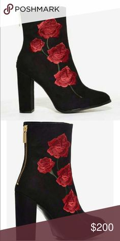 Intentionally Blank Nasty Gal Rosa boot Nasty Gal boot with rose embroidery on the side, by Intentionally Blank. Super cute only worn to try, doesn't fit me so i'm selling :( size 38 but runs small! Would fit a 37 Nasty Gal Shoes Ankle Boots & Booties