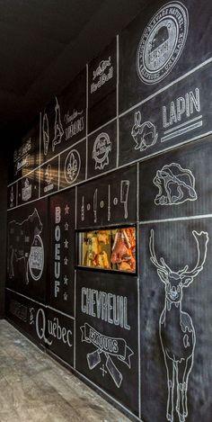 Mural with chalk. Restaurant O chevreuil, Sherbrooke. Mural with chalk. Restaurant O chevreuil, Sherbrooke. Art Restaurant, Restaurant Interior Design, Chalkboard Restaurant, Butcher Restaurant, Rustic Restaurant, Restaurant Concept, Signage Design, Cafe Design, Design Shop