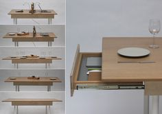 the expandable table by daniel liss the expandable table utilizes a series of folding components; changing from a dining table to a complete workstation. Space Saving Dining Table, Space Saving Desk, Space Saving Furniture, Furniture For Small Spaces, Cool Furniture, Furniture Design, Dining Room, Desk For Two, Living Simple Life
