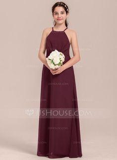[€ 61.31] A-Line/Princess Square Neckline Floor-Length Chiffon Junior Bridesmaid Dress With Ruffle