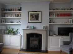Alcove Bookshelves, Built In Wall Shelves, Alcove Shelving, Bookcases, Built In Cupboards Living Room, Alcove Storage Living Room, Living Room Shelves, Home Fireplace, Living Room With Fireplace
