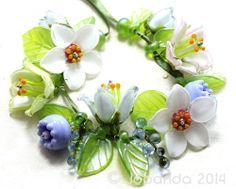 JOPANDA lampwork Beads handmade SRA - Spring Awakening in Aqua & Glamour