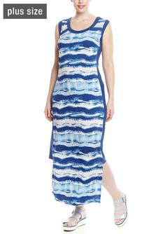 MILANO Sleeveless Printed Maxi Dress with Contrast Short Sides | ideel
