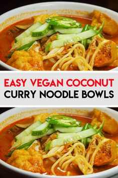 This is the Best and Easy Vegan Coconut Curry Noodle Bowls Recipe ever, using very healthy ingredients, this is a special curry dish that uses crispy vegetables and has a slightly sweet and fragrant taste. Best Vegan Recipes, Curry Recipes, Healthy Recipes, Vegan Curry, Coconut Curry, Healthy Dishes, Food Dishes, Main Dishes, Dinner Recipes
