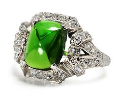 Bliss: Art Deco Tourmaline Diamond Ring