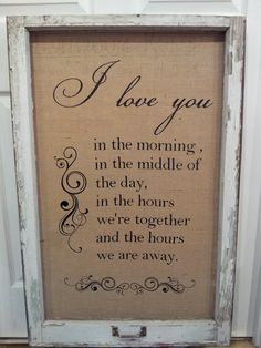 Antique Rustic Window Frame with Burlap and Quote. $60.00, via Etsy.
