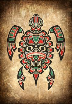 «Red and Green Haida Spirit Sea Turtle» de jeff bartels