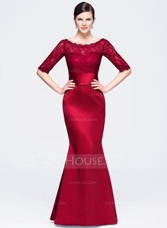 Trumpet/Mermaid Scoop Neck Floor-Length Zipper Up Sleeves 1/2 Sleeves No Burgundy Winter Spring Fall General Plus Satin Lace Evening Dress