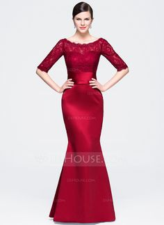 Trumpet/Mermaid Scoop Neck Floor-Length Zipper Up Sleeves 1/2 Sleeves No Burgundy Winter Spring Fall General Plus Satin Lace Evening Dress
