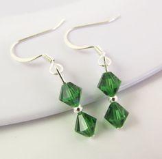 Green Earrings Dark Green Earrings Green Drop by BeadBrilliant, $12.00