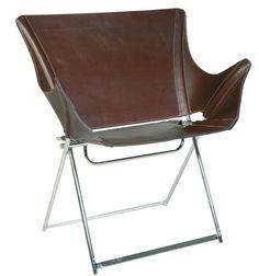 #Butaca plegable 7d2, 1996. #Diseño y #producción: Gastón Girod. Estructura metálica cromada o pintada al horno en color negro, funda de cuero o loneta acrílica.