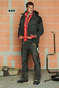 Winter Outfit Handwerker Bau: Mit praktischem Zweibelschalenprinzip. Winter Bundhose & Winter Arbeitsjacke schützen vor Kälte und Nässe. Wasserabweisende S3 Sicherheitsschuhe.