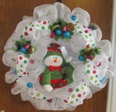White Mesh Snowman Wreath