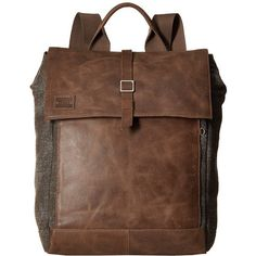 TOMS Stone Leather/Canvas Backpack (Brown) Backpack Bags (27140 RSD) ❤ liked on Polyvore featuring bags, backpacks, leather flap backpack, brown canvas backpack, leather strap backpack, canvas leather backpack and day pack backpack