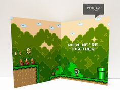Super Mario World  Valentine's Day Love Printed Card by kiracards, $6.00