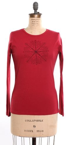 Embroidered Snowflake Red Tee: Made from 100% organic cotton. Knit, cut and sewn in the USA. Featuring water based inks and dyes. $46