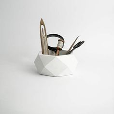 ORE  White Concrete Succulent Planter  Vase  Pot  Utensil