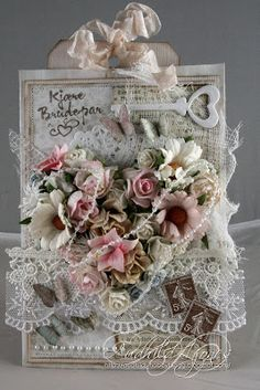 "Stempelglede :: ""Post Card from Paris"" and ""Til Brudeparet"" - Bryllupskort - Audhild Ljones. Estilo Shabby Chic, Shabby Chic Cards, Shabby Vintage, Be My Valentine, Vintage Cards, Homemade Cards, Wedding Cards, Cardmaking, Decorative Boxes"