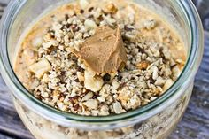 Pumpkin Overnight Oats 1/3 c rolled oats 1/3 c yogurt 1/3 c milk 1/3 c pumpkin 1/2 TBL chia seeds 1/2 banana Pinch cinnamon + all spice + salt Cville Cluster on top A spoonful of TJ's Cookie Butter Mix everything but granola together and set in fridge overnight. Add toppings in AM.