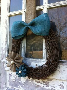Easter Wreath Stick and Burlap Wreath Burlap by DownInTheBoondocks, $26.00