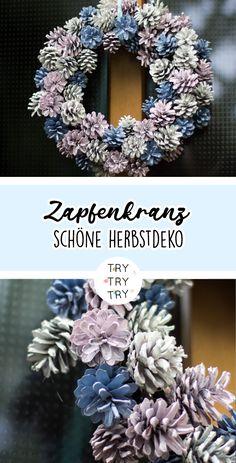 Herbstlicher Tannenzapfen-Kranz / Kiefernzapfen-Kranz Recipe For Mom, Diy Weihnachten, Cool Diy Projects, Pine Cones, Seasonal Decor, Burlap Wreath, Party Planning, Diy And Crafts, Artwork