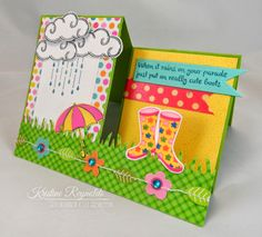 April #Creative CAfe' Card kit from #The Rubber Cafe, #fun Fold CArd, #step CArd