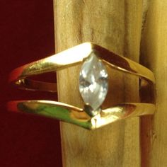 Estate Avon 18K Gold Plated 0.5ct Marquice White Sapphire Ring JMVS052 |We combine shipping|No Question Refunds|Bid $60 for free shipping. Starting at $1