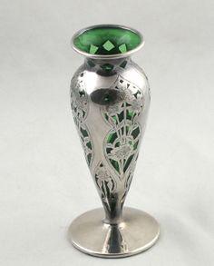 Art Nouveau Green glass sterling silver overlay vase