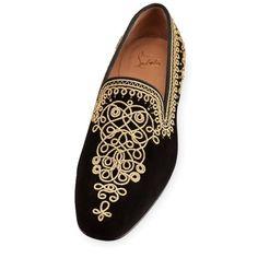 81a0874a791e Christian Louboutin mamounia flat Black Gold Suede Mens Loafers